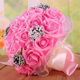 lindas pérolas rosa Desconto Beautiful Bridal Wedding Bouquet Todos Handmade nupcial Flower Bouquets de casamento pérolas artificiais Flower Rose Bouquet com o dom 9 cores