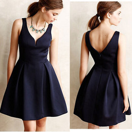 Wholesale Office Gowns - 2016 Summer Office Lady Style Dresses Pleated Skirt Sleeveless Clothing One Piece Dress Skirt Professional Women Clothes Deep V-Neck