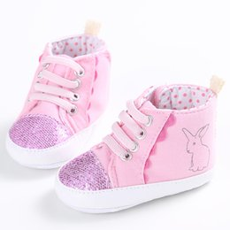 Wholesale Girls Shoes Rabbit - Wholesale- Cute Pink Charm Warm Color Baby Shoes Newborn The Movement Style Lace-up Baby Girl Shoes Rabbit Princess First Walkers
