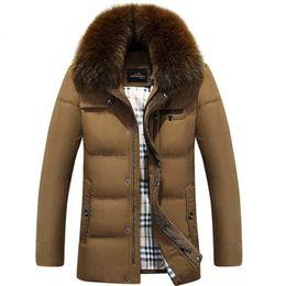 Wholesale Fox Fur Coats Men - Fall-2016 New Fashion Hot Men Winter Down Coat Imitation Fox Fur Collar Male Thickening Plus Size Jacket White Duck Down Parkas HJ112