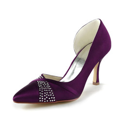 Wholesale Nice Free Shoes - Nice Purple 8cm Heel Pump Elegant Style Pointy Shoe Bridal Shoes Wedding Dress Shoes Handmade Shoes for Wedding From Size35-42 Free Shipping
