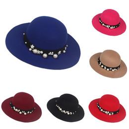 Wholesale Ladies Woolen Tops - Pearl girls Ladies hat autumn and winte basin cap Woolen wide brim hats SK84