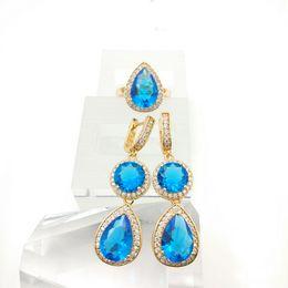 Wholesale Quartz Blue Topaz Earrings - New Arrival Sky Blue Emerald White Topaz Silver Jewelry Sets For Women Rings fashion Earrings Free Jewelry Box