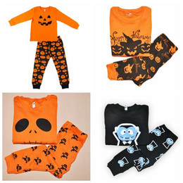 Wholesale Baby Clothes Christmas Designs - 4 Designs Halloween Costume Baby Leisure Wear Clothing Set Toddler Pajamas Suit Pumpkin Children Househeld Sleepwear 2pcs set CCA7055 100set
