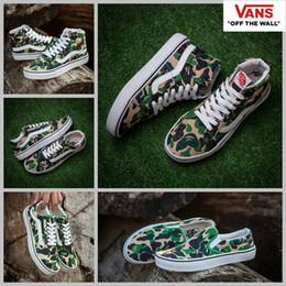 Wholesale Women Canvas Slip Shoe - 2017 VANS X Aape Custom Sneakers Women Mens High Tops Old Skool Slip On Green Camo Canvas Casual Fashion Sport Sneakers shoes 36-44