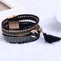 Wholesale Hand Made Leather Wrap Bracelets - Wholesale-16 fashion New Bohemian multilayer woven Leather Wrap Bracelet making magnetic clasp the hand cuffs wholesale Charm Bracelet Ms.