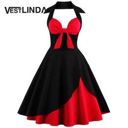 Wholesale rockabilly dress plus size - Wholesale- VESTLINDA Vintage 50s 60s Rockabilly Summer Dress 2017 Sexy Halter Women Dress Robe Plus Size Pin Up Party Dresses Vestido