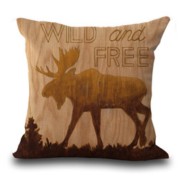 Wholesale Printed Cushions Linen Cotton - Wild Animal deer bear pillow Case Cushion cover Pillowcase Cover Square linen cotton soft pillowslip beddng sets 240529