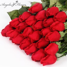 Wholesale Real Red Rose Bouquet - Real Touch Rose Bud 25pcs Lot Artificial Silk Wedding Flowers Bouquet Home Decorations For Wedding Party Or Birthday Small Buds