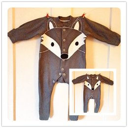 Wholesale Sleepsuit Romper - Baby Romper Gray Orange Fox Infant Newborn Long Sleeve Baby Boys Girls Rompers Bodysuit Sleepsuit Jumpsuits One-Piece Babies Onesies 277