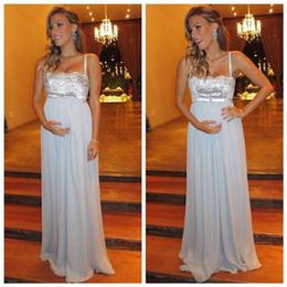 Wholesale Sexy Dresses For Pregnant Women - Sexy Maternity Dresses Blue Spaghetti Chiffon Sequin Dresses Custom Made Cheap Evening Dresses For Pregnant Women Vestios Festa Prom Dress