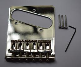 акустическая гитара мост седло хром 6 Flate стиль седло мост для Fender Telecaster Tele электрогитара от Поставщики электрические железные детали
