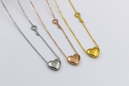 Wholesale Titanium Love Pendant Necklace Heart - 2016 Brand designer Love heart & Key shaped Pendant Necklaces Titanium steel forever love Necklace 18K Rose Gold plated fashion Jewelry