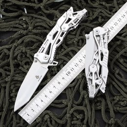 Wholesale Self Defense Tools Free Shipping - Free shipping New 8.26'' inch white Stainless steel mechanical knife EDC New peculiar small knife camping tools portable Folding knife