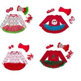 Wholesale American Girl Zebra Dress - Christmas Baby Kids Clothing Toddler infant outfit Dresses months Wholesale Girl's Dresses Jumpsuits Rompers 4Pcs Headband+shoes+Dress+stock