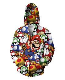 Argentina Al por mayor-Nueva capa 3D Super Mario gráfico teñido chaqueta de dibujos animados hombres / mujeres Crewneck cremallera invierno sudadera con capucha sudaderas ocasionales 2 color cheap tie dye sweatshirt xl Suministro