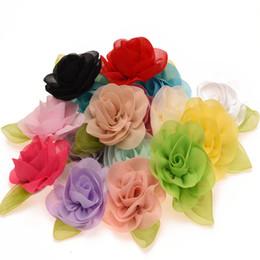 Wholesale Flower Vintage Fabric - Wholesale 48PCS Cute Leaf Flower for Newborn Baby Hair Accessories Chiffon Roll Flowers Vintage Fabric Flowers for Headbands
