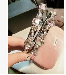 Wholesale Korean Headbands For Women - Luxury Vintage Korean Shinning Big Square Rhinestone Crystal Hairband Headband For Women. Fashion Wedding Jewelry Hair Accessories