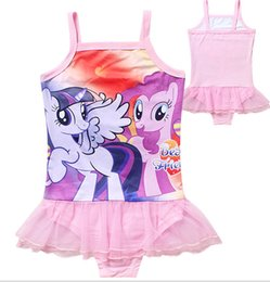 Wholesale Little Girls Pink Swimsuits - DHL Free Shipping~Factory Direct!Little Pony One-piece Swimsuit for Girls 5pcs lot Rose Red