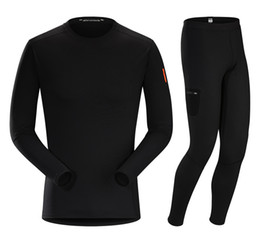 Wholesale Outdoor Thermal Underwear - Wholesale- 2017 New Outdoor Thermal Underwear Men's Riding Suits Breathable Ski Tight Fitting Fast Dry Multi-function Underwear Suits