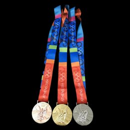 Wholesale Badges Games - The 2004 Athens Olympic games Championship gold silver bronze medal badge collectible art coin badge with Ribbon 60 mm diameter