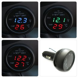 Wholesale Auto Temperature Thermometer - Wholesale-3 in 1 Digital LED car Voltmeter Thermometer Auto Car USB Charger 12V 24V Temperature Meter Voltmeter Cigarette Lighter