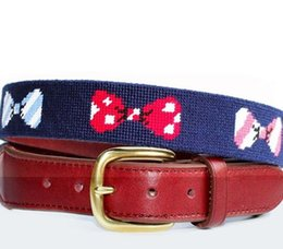 Wholesale Narrow Men S Ties - cartoon colorful bow tie Needlepoint Belt in handmade solid brass buckle brown leather woolen yard men adult`s high end men`s belts