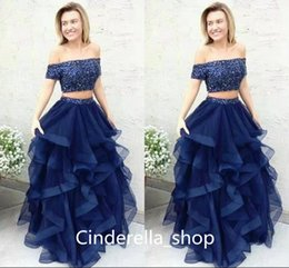 Wholesale Two Piece Dresses Tulle Skirt - Two Pieces Navy Blue Prom Dresses Sequined Off The Shoulder Floor Length Tiered Skirts Vintage Formal Party Wear Cheap Custom Made