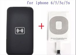 Wholesale Cell Phone Charging Kits - Qi wireless charger Kit for iPhone 6 5 5c 5s wireless charge Charging Pad and Receiver Card kit cell phone charger