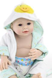 Wholesale Newborn Clothes China - Free Shipping! 22inch Full Silicone Body Reborn Doll Reborn Boy Robes Realistic Clothes Can Bath Bebe Alive Brinquedos Bonecas