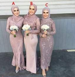 Wholesale Short Peplum Bridal Dresses - Saudi Arabic Muslim 2016 Bridesmaid Dresses Lace Appliques Beaded Long Sleeves Back Zipper Formal Bridal Gowns