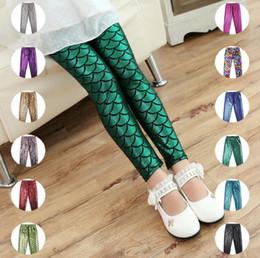 Wholesale Shiny Cotton Leggings - Girls Kids Mermaid Pants baby girl leggings Printing Child Leggings Girl scale pants mermaid fish scale shiny pants