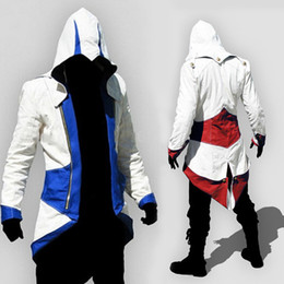 Wholesale Assassins Creed White Jacket - Wholesale-Assassins Creed 3 III Conner Kenway Hoodies Jacket Aassassins Creed Costume Connor Cosplay Novelty Sweatshirt Hoody Coat Jackets