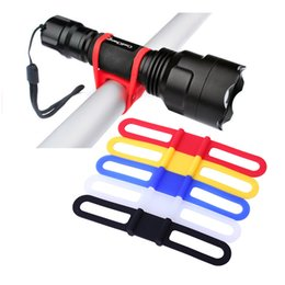 Wholesale Bicycle Accessory Mounts - 2016 New Silicon Strap Mountain Road Bike Torch Phone Flashlight Bands Elastic Bandage Bicycle Light Mount Holder Bike Accessories