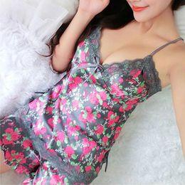 Wholesale Sexy Lingerie Trouser - Sexy Pajamas Women Silk Lace Floral Braded Robe Sleepwear Lingerie Nightdress Babydoll Pajamas Set V-Neck + Pyjama Trousers
