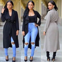 Wholesale Womens Ruffled Jacket - Big Lapel Trench Coat Cape Long Overcoat for Autumn Winter Womens Windbreaker Collar Waterfall Belt Long Sleeve Coat Jacket