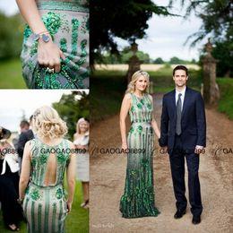 Wholesale Bead Jewelery - The Great Gatsby Jenny Packham Emerald Jewelery Sparkly Mermaid country boho Wedding Dresses Crew Full length Trumpet Wedding Gown