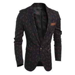 Wholesale Cheap Blazers Jackets - Wholesale-2016 Classic Grid Suit Blazers Overcoat Brand Designer Men Cow Head Denim Blazer High Quality Jackets Cheap Suit Coats New S1205