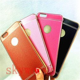 Wholesale Iphone Imitation - Luxury Soft TPU Case Electroplating Ultra-thin Imitation Leather Back Cover For Iphone 7 & plus 5S 6 6s Plus Samsung Galaxy S7 edge Note7