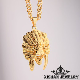 """Wholesale Chief Pendant - Hip Hop Jewelry necklace men American Indian Chief Head 24K Gold Plated Pendant necklace 31"""" Cuban Curb Chain Necklace Wholesale"""
