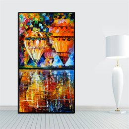 Wholesale Knife Oil Paintings - Modren Palette Knife Painting Hot Air Balloon Painting Printed on Canvas Mural Art for Home Office Decoration