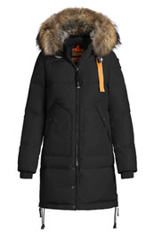 Wholesale Down Jackets Women Hoodies - 2017 Hot Sale Luxury Parajumpers women's long bear down Jacket Hoodies Fur Fashionable Winter Coats Warm Parka Free shipping