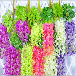Wholesale Hot Pink Silk Flowers - Hot Sale High quality Romantic Artificial Wisteria Silk Flower Home Party Wedding Garden Floral Decoration Drop Shipping