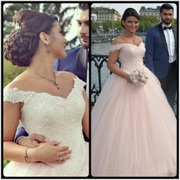 Wholesale Latest Ball Wedding Gowns - Latest Ball Gown Wedding Dresses 2017 Elegant Off Shoulder Pink Lace Appliques Bridal Gown Court Train With Beaded