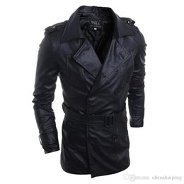 Wholesale Military Fur Coat Men - New Fashion Motorcycle Outerwear Men PU Leather Jackets Vintage Winter Military Mens Trench Coat free shpping