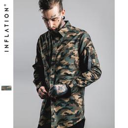 Wholesale Denim Shirt Mens - New Man Denim Shirts Mens Hip Hop Military Style Mens Shirts Long Sleeve Hiphop Streetwear Swag Zipped Mens Shirts