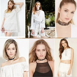 Wholesale Retro Miao Collar Necklace - Jewelry Harajuku retro velvet with lace flowers collar neckband necklace female short paragraph clavicle necklace Lolita paragraph