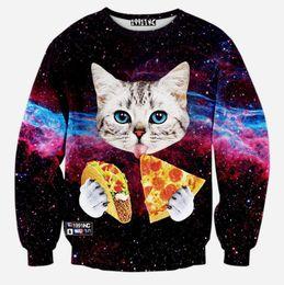 Wholesale Galaxy Cats Sweatshirts - Wholesale-2016 Space Galaxy Animal Cat Eat Pizza 3D Jumper Hoodies Pullover Top Sweatshirt 16 color
