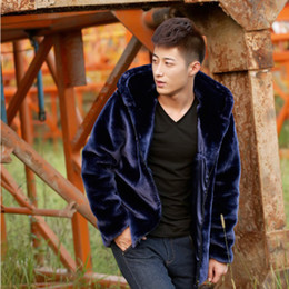 Wholesale Long Jackets Fur Hood Mens - Fall-Mens Faux Fur Coat Hood Motorcycle Hooded Leather Jacket Men Winter Mink Coats Casual Outerwear Skin Jackets Purple Black Coffee