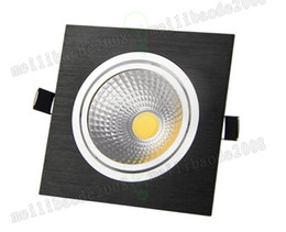 Wholesale Black Led Downlight - Recessed LED Downlight Square 9w cob Dimmable downlight black Indoor Decora Ceiling Led Spot Light AC85-265V MYY
